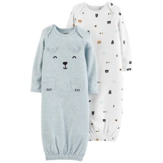 Baby Girl Carter's 2-Pack Bear Graphic & Print Sleeper Gowns