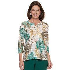 Petite Alfred Dunner Studio Scroll Embellished Top