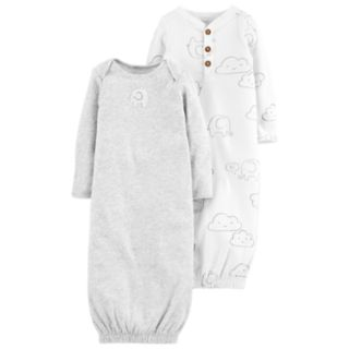 Baby Carter's 2-Pack Elephant Print & Solid Sleeper Gowns