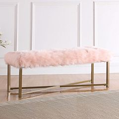 HomePop Faux Fur Rectangle Bench