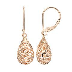 Forever 14K Teardrop Leverback Earrings