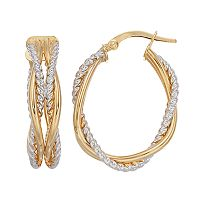 Forever 14K Two Tone Twist Hoop Earrings