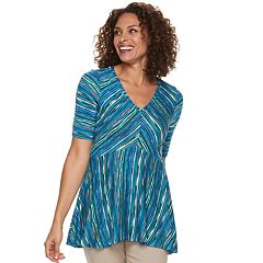 Women's Dana Buchman Striped Shark-Bite Hem Tunic