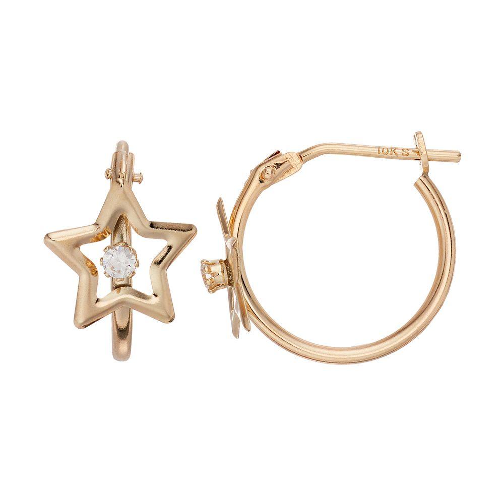 Taylor Grace 10k Gold Star Cubic Zirconia Hoop Earrings