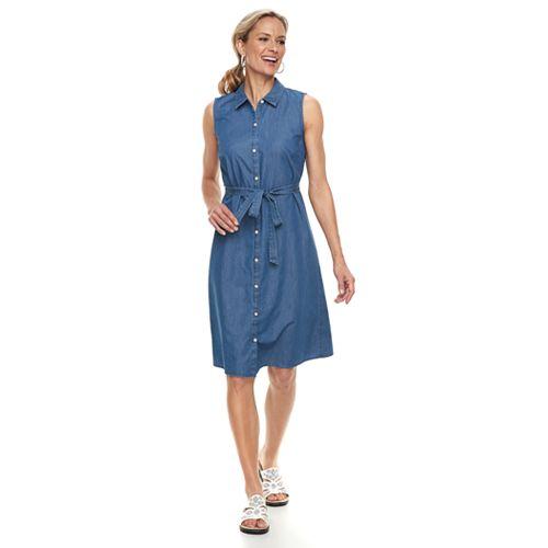 Women's Croft & Barrow® Print Belted Shirt Dress