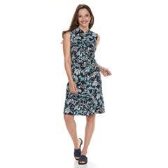 Women's Croft & Barrow® Print Belted Shirt Dress
