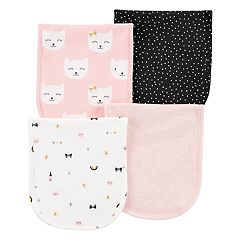 Baby Girl Carter's 4-Pack Print & Solid Burp Cloths