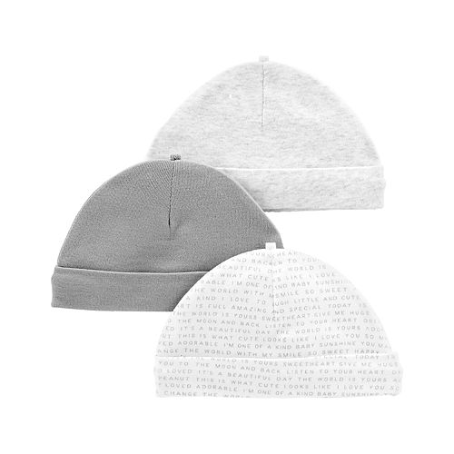Baby Carter's 3-Pack Print & Solid Hats