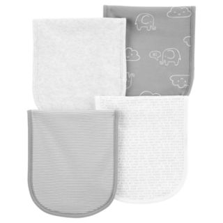 Baby Carter's 4-Pack Print & Solid Burp Cloths