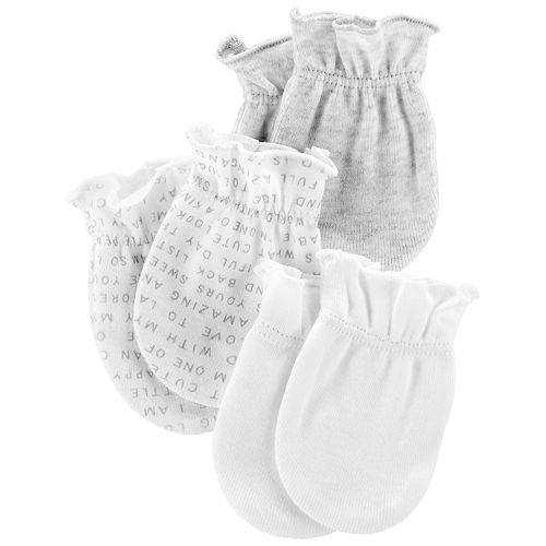 Baby Neutral Carter's 3-Pack Solid & Print Mitts