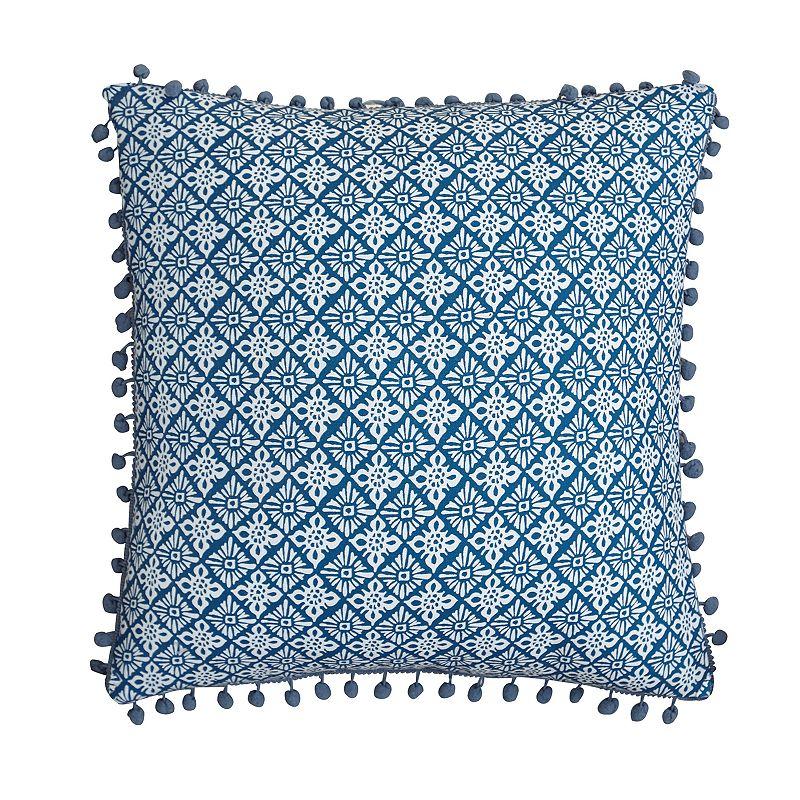 Magical Medallion Pom Trim Throw Pillow, Blue, Fits All