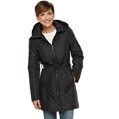 Women's TOWER by London Fog Hooded Quilted Belted Jacket