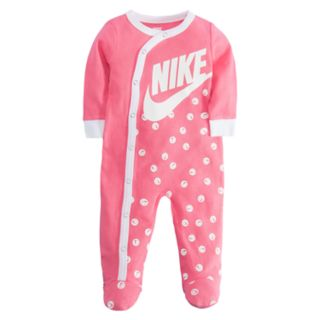 Baby Girl Nike Smiley Swoosh Footed Coverall