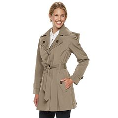 Women's TOWER by London Fog Hooded Double Lapel Raincoat