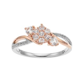10k White Gold Two Tone Lab-Created White Sapphire Cluster Ring