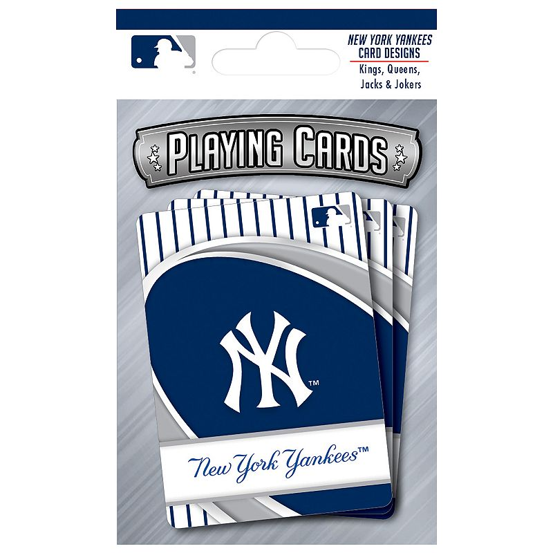 New York Yankees Playing Cards Play the classics with these New York Yankees playing cards featuring team graphics and colors.WHAT'S INCLUDED 1 deck of cards Standard size Imported Shop our full assortment of New York Yankees items here. When you're a fan, you're family! Size: One Size. Color: Multicolor. Gender: unisex. Age Group: kids.