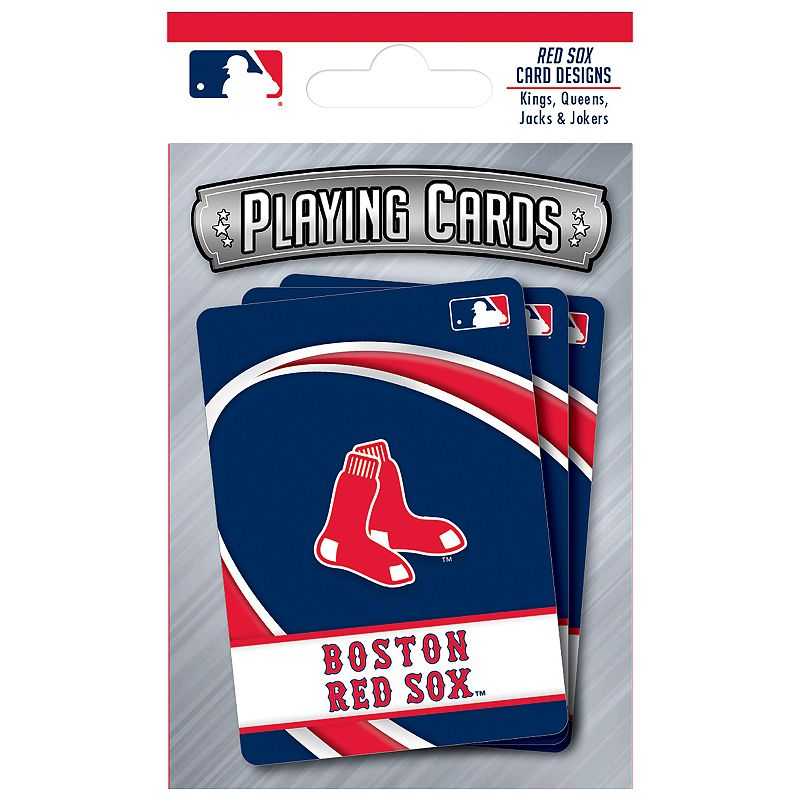Boston Red Sox Playing Cards Play the classics with these Boston Red Sox playing cards featuring team graphics and colors.WHAT'S INCLUDED 1 deck of cards Standard size Imported Shop our full assortment of Boston Red Sox items here. When you're a fan, you're family! Size: One Size. Color: Multicolor. Gender: unisex. Age Group: kids.