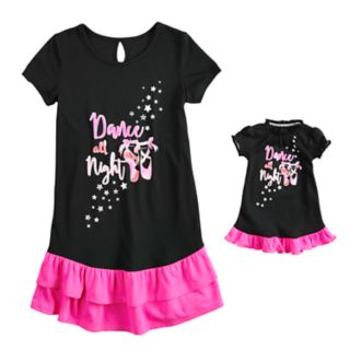 Girls 4-14 & Plus Size SO® Double Ruffled Dorm Nightgown & Doll Nightgown Set