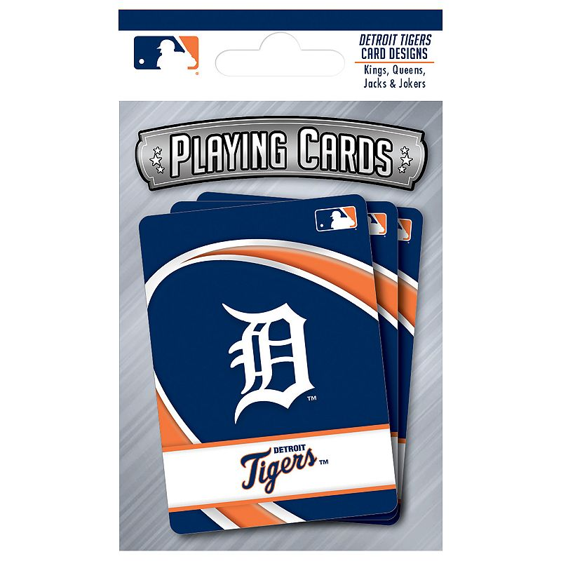 Detroit Tigers Playing Cards Play the classics with these Detroit Tigers playing cards featuring team graphics and colors.WHAT'S INCLUDED 1 deck of cards Standard size Imported Shop our full assortment of Detroit Tigers items here. When you're a fan, you're family! Size: One Size. Color: Multicolor. Gender: unisex. Age Group: kids.