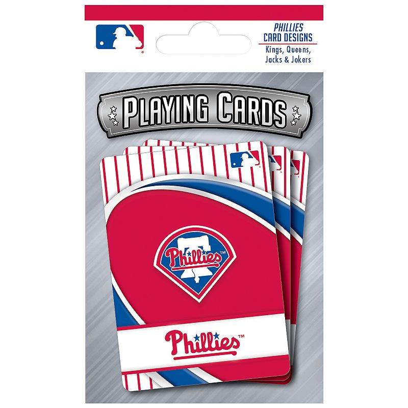 Philadelphia Phillies Playing Cards Play the classics with these Philadelphia Phillies playing cards featuring team graphics and colors.WHAT'S INCLUDED 1 deck of cards Standard size Imported Shop our full assortment of Philadelphia Phillies items here. When you're a fan, you're family! Size: One Size. Color: Multicolor. Gender: unisex. Age Group: kids.