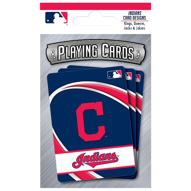 Cleveland Indians Playing Cards Play the classics with these Cleveland Indians playing cards featuring team graphics and colors.WHAT'S INCLUDED 1 deck of cards Standard size Imported Shop our full assortment of Cleveland Indians items here. When you're a fan, you're family! Size: One Size. Color: Multicolor. Gender: unisex. Age Group: kids.