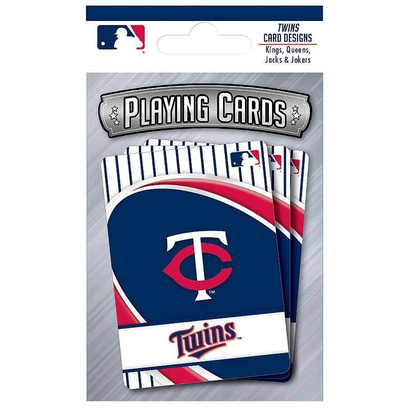 Minnesota Twins Playing Cards Play the classics with these Minnesota Twins playing cards featuring team graphics and colors.WHAT'S INCLUDED 1 deck of cards Standard size Imported Shop our full assortment of Minnesota Twins items here. When you're a fan, you're family! Size: One Size. Color: Multicolor. Gender: unisex. Age Group: kids.