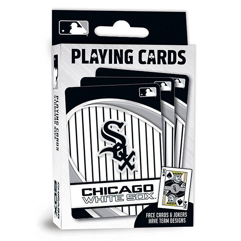 Chicago White Sox Playing Cards Play the classics with these Chicago White Sox playing cards featuring team graphics and colors.WHAT'S INCLUDED 1 deck of cards Standard size Imported Shop our full assortment of Chicago White Sox items here. When you're a fan, you're family! Size: One Size. Color: Multicolor. Gender: unisex. Age Group: kids.