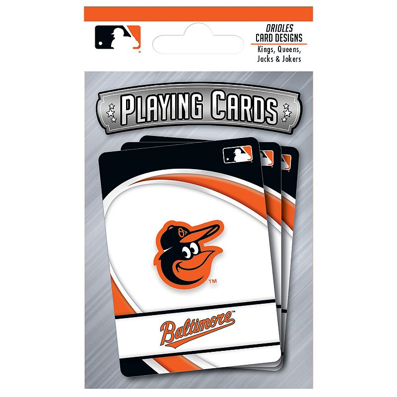 Baltimore Orioles Playing Cards Play the classics with these Baltimore Orioles playing cards featuring team graphics and colors.WHAT'S INCLUDED 1 deck of cards Standard size Imported Shop our full assortment of Baltimore Orioles items here. When you're a fan, you're family! Size: One Size. Color: Multicolor. Gender: unisex. Age Group: kids.