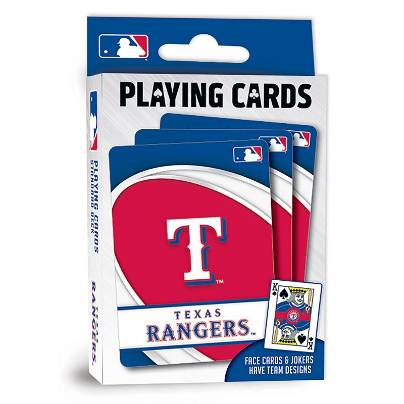 Texas Rangers Playing Cards Play the classics with these Texas Rangers playing cards featuring team graphics and colors.WHAT'S INCLUDED 1 deck of cards Standard size Imported Shop our full assortment of Texas Rangers items here. When you're a fan, you're family! Size: One Size. Color: Multicolor. Gender: unisex. Age Group: kids.