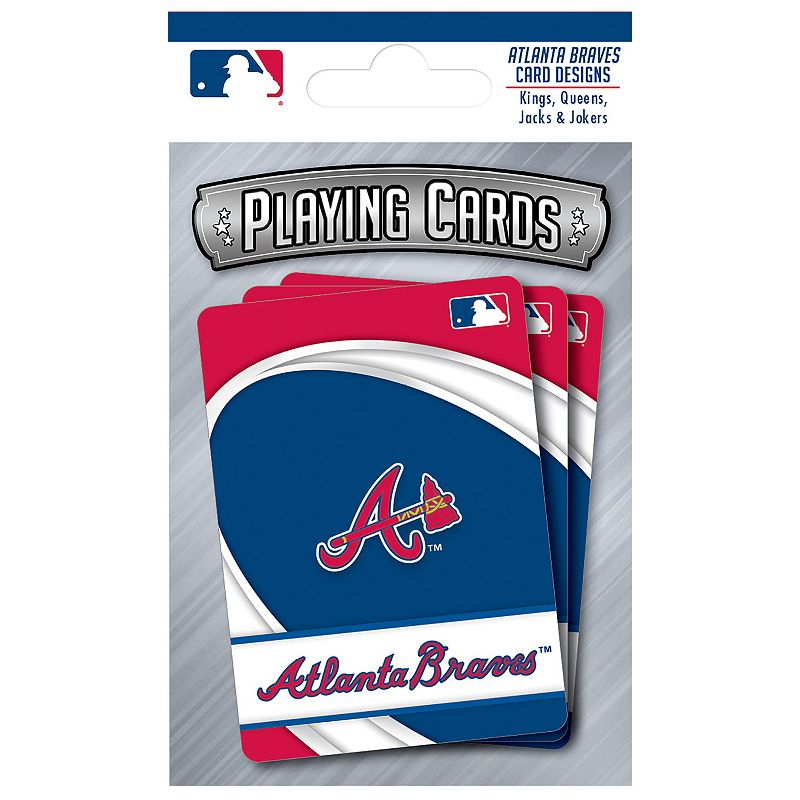 Atlanta Braves Playing Cards Play the classics with these Atlanta Braves playing cards featuring team graphics and colors.WHAT'S INCLUDED 1 deck of cards Standard size Imported Shop our full assortment of Atlanta Braves items here. When you're a fan, you're family! Size: One Size. Color: Multicolor. Gender: unisex. Age Group: kids.
