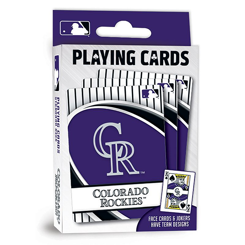 Colorado Rockies Playing Cards Play the classics with these Colorado Rockies playing cards featuring team graphics and colors.WHAT'S INCLUDED 1 deck of cards Standard size Imported Shop our full assortment of Colorado Rockies items here. When you're a fan, you're family! Size: One Size. Color: Multicolor. Gender: unisex. Age Group: kids.