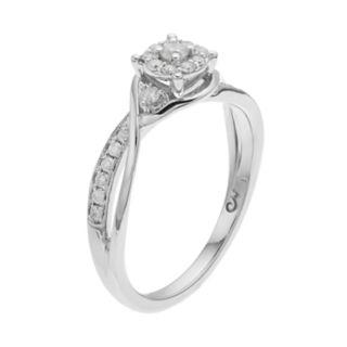 10k White Gold 1/4 Carat T.W. Diamond Swirl Ring