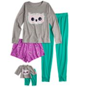 Girls 5-16 & Plus Size SO® Top, Pants & Shorts Pajama Set & Doll Pajama Set