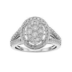 10k White Gold 1 Carat T.W. Diamond Cluster Halo Ring