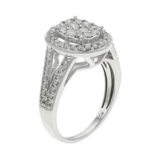 10k White Gold 1 Carat T.W. Diamond Cluster Halo Ring