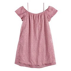 Girls 7-16 Fire Off-The-Shoulder Lace Swing Dress