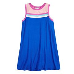 Girls 7-16 Fire Striped Sleeveless Ringer Dress