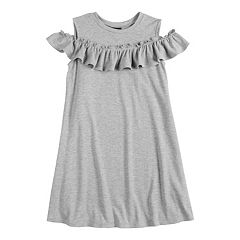 Girls 7-16 Fire Cold Shoulder Ruffled Shirt Dress