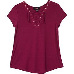 Girls 7-16 IZ Amy Byer Short Sleeve Lace-Up Swing Tee