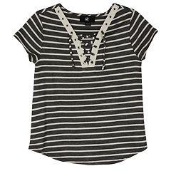 Girls 7-16 IZ Amy Byer Short Sleeve Lace-Up Swing Tee