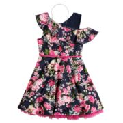 Girls 7-16 Beautees One Shoulder Ruffle Belted Skater Dress & Necklace Set