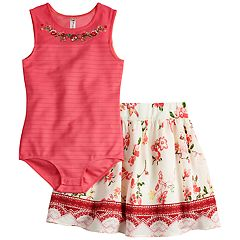 Girls 7-16 Beautees Leotard & Skater Skirt Set