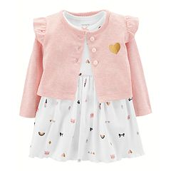 c6f38766b36 Baby Girl Carter s Print Bodysuit Dress   Ruffled Cardigan Set