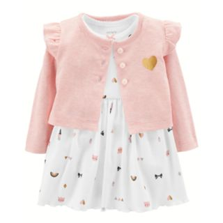 Baby Girl Carter's Print Bodysuit Dress & Ruffled Cardigan Set