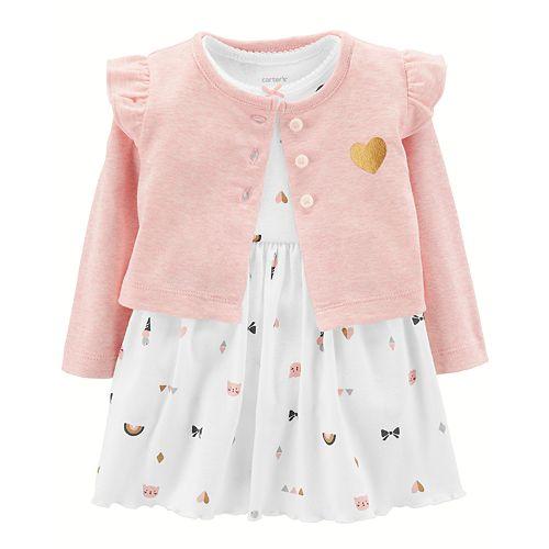 Baby Girl Carter's Print Bodysuit Dress & Ruffled Cardigan Set