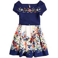 Girls 7-16 Beautees Off The Shoulder Belted Skater Dress