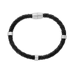 1913 Men's Stainless Steel & Braided Black Leather Bracelet