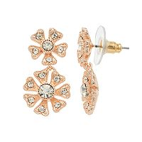 LC Lauren Conrad Simulated Crystal Nickel Free Double Flower Drop Earrings