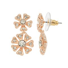LC Lauren Conrad Simulated Crystal Nickel Free Double Flower Drop Earrings