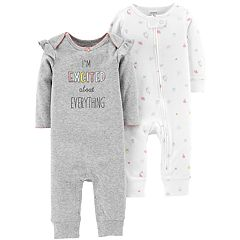 Baby Girl Carter's 2-Pack Graphic & Unicorn Print Coveralls